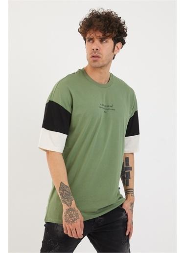 XHAN Bej Kolları Garnili Baskılı Oversize T-Shirt 1Yxe1-44879-25 Yeşil